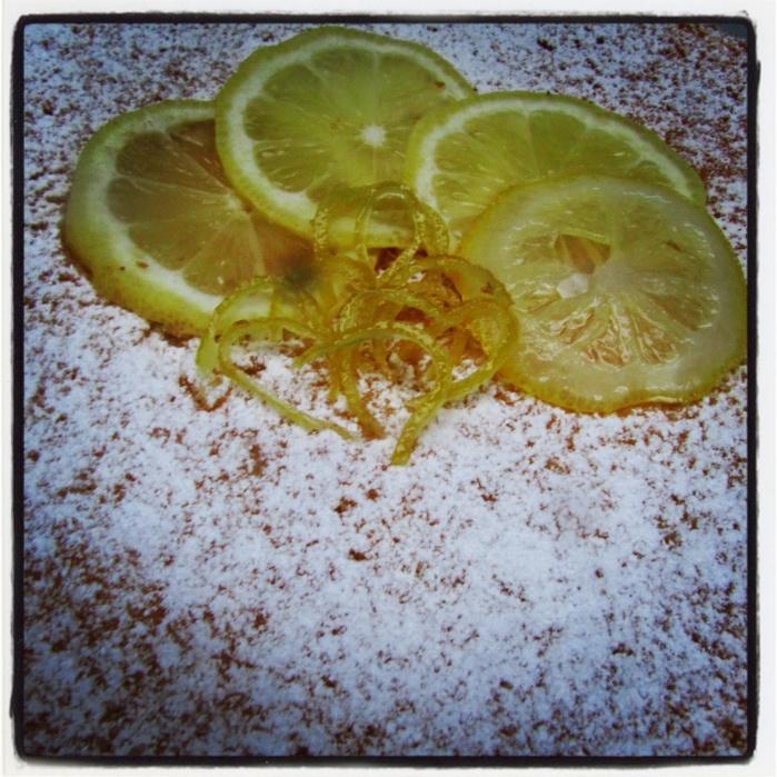 Candied Lemon Zest for White Caprese Cake